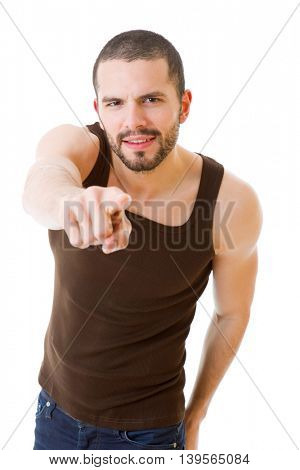 Casual man pointing with his finger, isolated on white