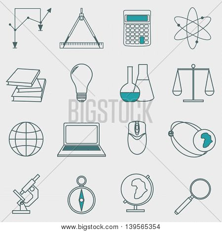 Vector set of icons education and e-learning