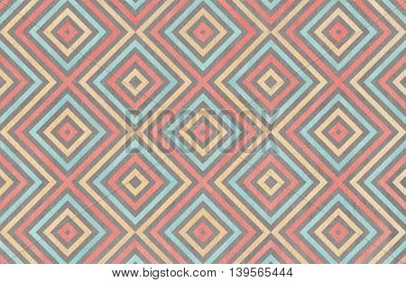 Geometrical Pattern In Coral, Blue, Beige And Grey Colors.