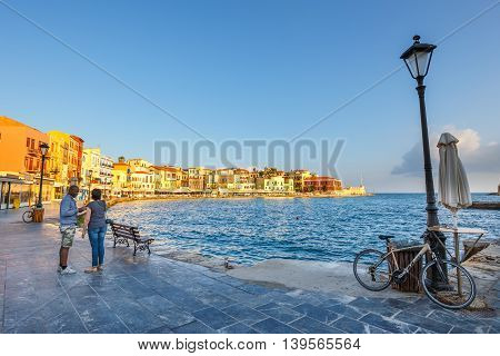 Chania, Crete - 25 Maj, 2016: Morning View Of The Old Port In Chania, Greece. Chania Is The Second L