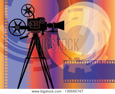 Abstract color cinema background with film camera, vector illustration