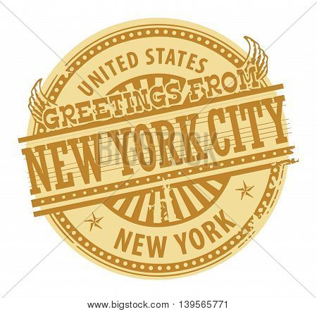 Grunge color stamp with text Greetings from New York City, vector illustration