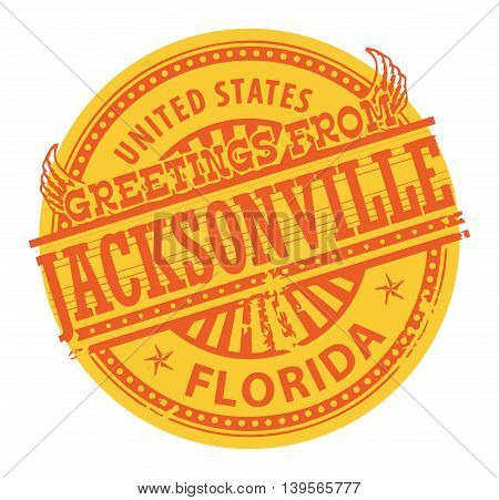 Grunge color stamp with text Greetings from Jacksonville, vector illustration