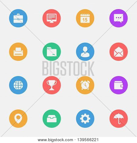 Business flat icons on the color substrate