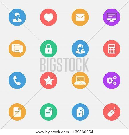Business signs flat icons on the color substrate set