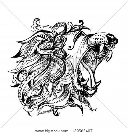 Hand drawn vector illustration of doodle lion with open mouth. sketch. Vector eps 8
