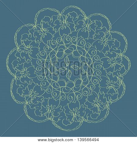 Vintage decorative elements, mandala pattern vector illustration