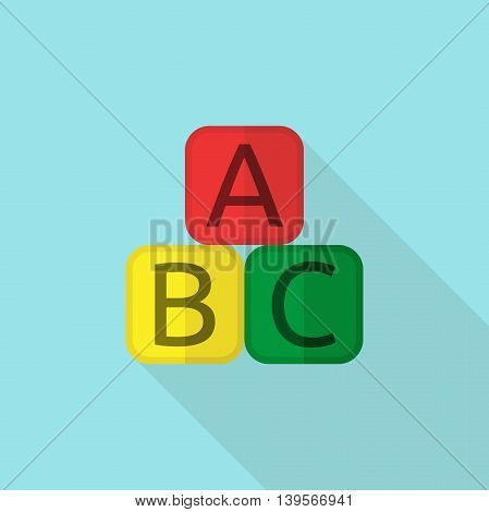 Colorful educational blocks ABC flat style on blue background. Art teaching and creativity concept. Flat design. Vector illustration. EPS 8 no transparency