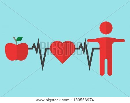 Apple heart man and cardiogram on blue background. Healthy eating and lifestyle concept. Flat design. Vector illustration. EPS 8 no transparency
