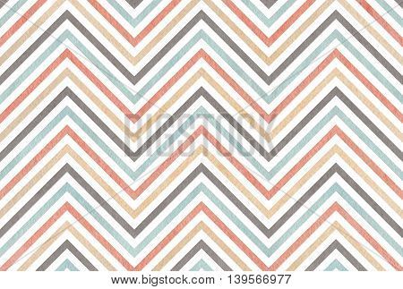 Watercolor Gray, Pink, Beige And Blue Stripes Background, Chevron.