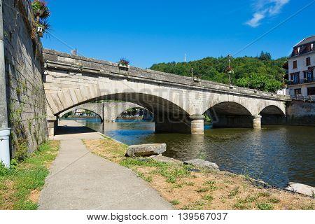 Bridges over the Aveyron river in Villefranche-de-Rouergue France