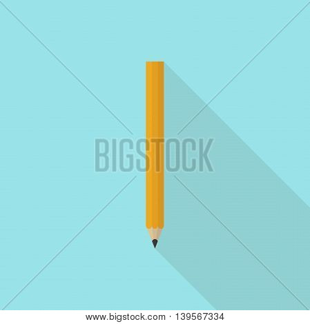 Wooden sharp graphite pencil on blue background. Icon with long shadow. Flat design. Vector illustration. EPS 8 no transparency