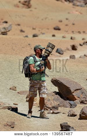 wildlife photographer outdoor in summer