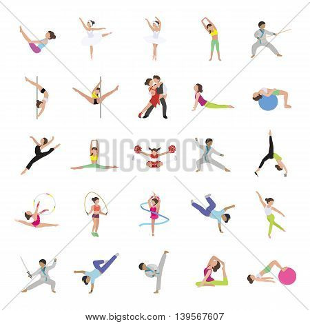 Dance & Fitness color vector icons collection