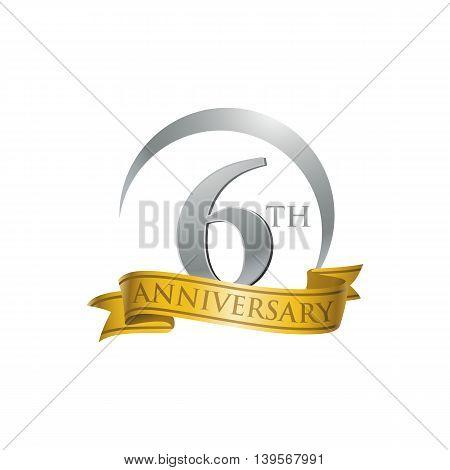 6th anniversary gold logo template. Creative design. Business success