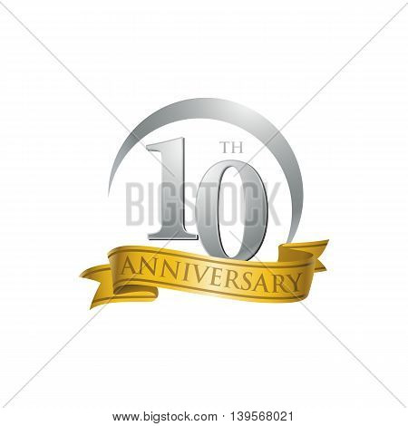 10th anniversary gold logo template. Creative design. Business success