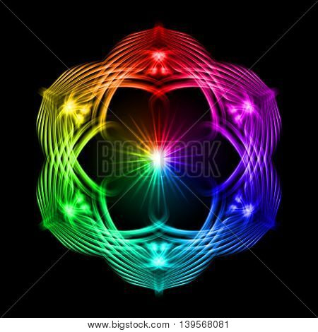 Multicolored shiny glossy flame ornate decorative floral pattern with image of the sun in the center on the black background. Six patterns in different directions.