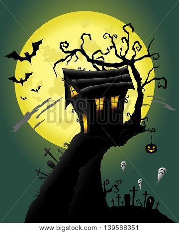 Bloody House in a scary night with bats and ghosts