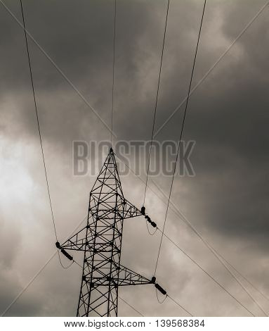 Power transmission lines on a stormy day