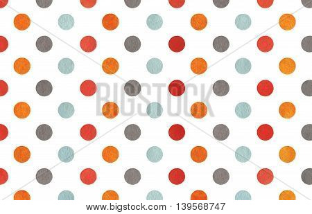 Watercolor Orange, Blue, Red And Grey Polka Dot Background.