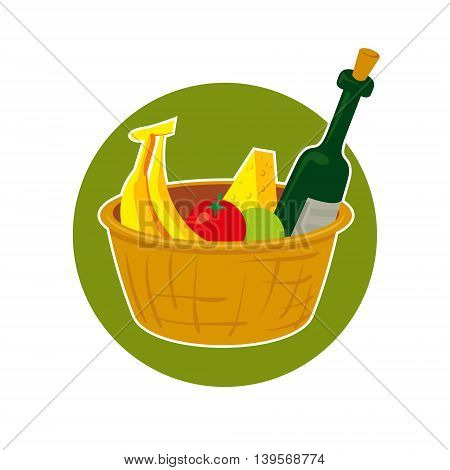 Straw picnic basket with food vector illustration