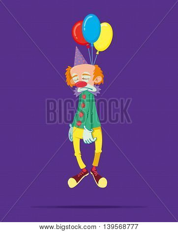 sad clown hanged himself on a balloons