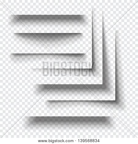 Transparent realistic paper shadow effect. Web banner. Element for advertising and promotional message isolated on transparent background. Abstract vector illustration for your design and business