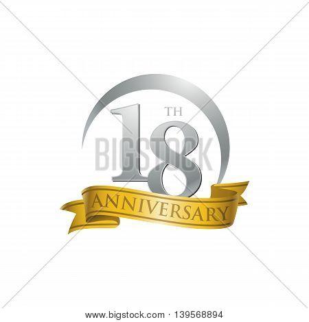 18th anniversary gold logo template. Creative design. Business success