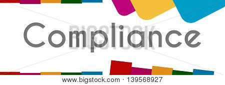 Compliance text written over abstract colorful background.