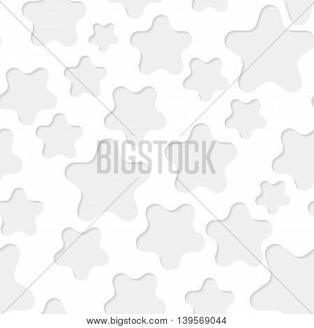 Seamless paper pattern with gray stars on white background