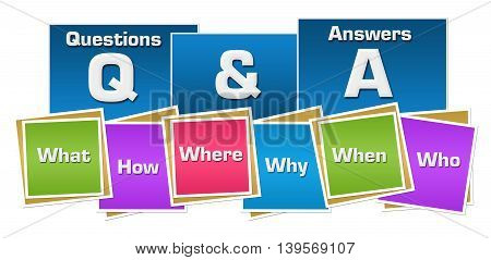 Q And A concept image with text and related keywords over colorful background.