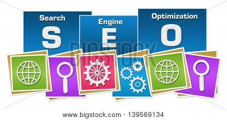 Seo concept image with text and related symbols over colorful background.