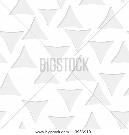 Seamless paper pattern with little gray triangles on white background