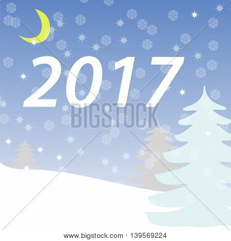 Winter landscape, trees in the snow, night sky, snowflakes, postcard vector illustration