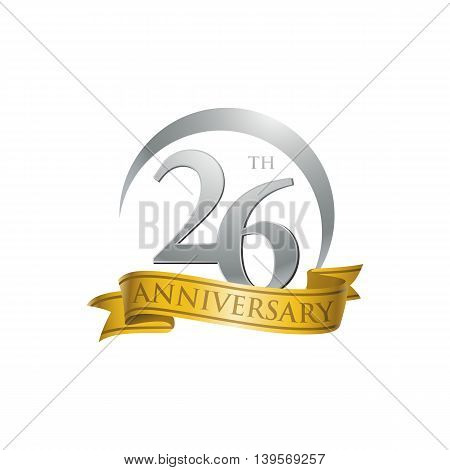 26th anniversary gold logo template. Creative design. Business success