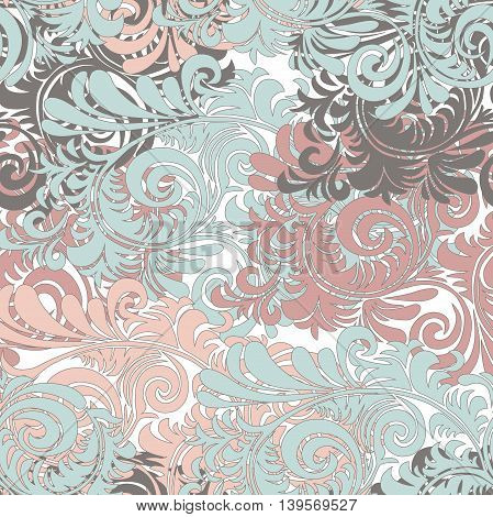 Seamless pattern vintage style with some curly leaves and branches. Vector EPS10. Pink and blue