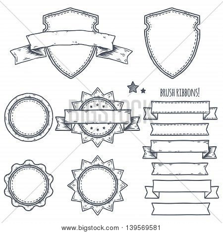 Set of banners, ribbons and logo illustrations. Hand drawn vector.