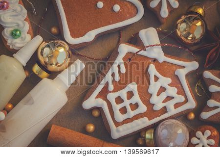 christmas gingerbread cookies with spices, frost and decorations, retro toned