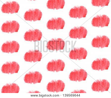 Pink Watercolor Stain Pattern On White Background.