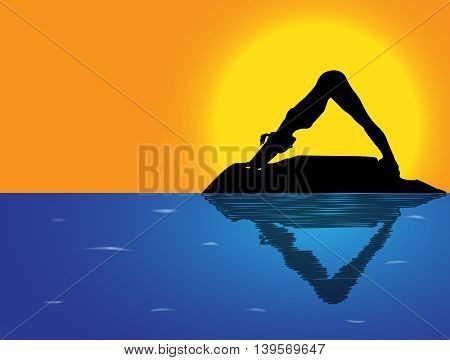 Yoga Downward Dog Sea Background
