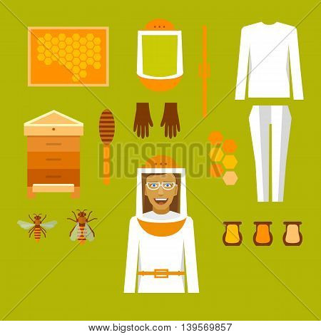 Beekeeper infographic with elements, bees and apiaries.