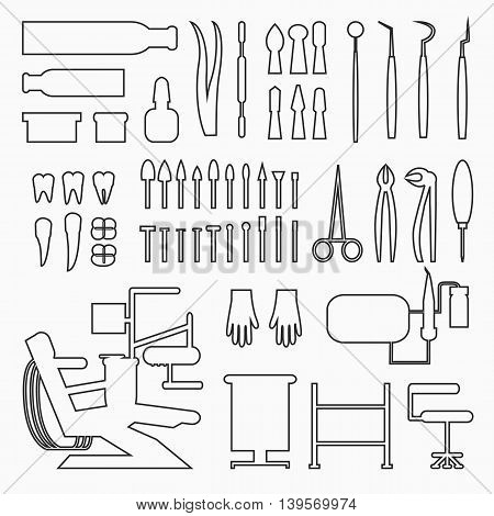 Set of dentist tools and equipments. Dental office, implants and dental care in black lines.