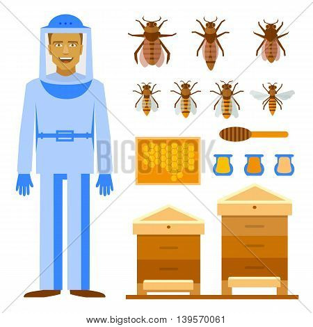 Smiling beekeeper with bees and apiaries. Men beekeeper costume. Bee, honey, bee house, honeycomb