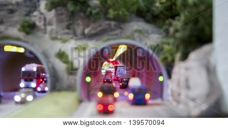 Model mock up of a traffic jam in a tunnel