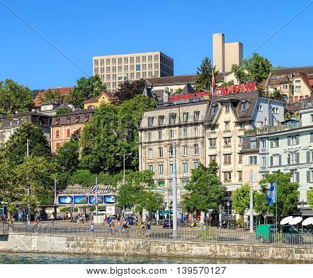 Zurich, Switzerland - 20 July, 2016: view on Central square across the Limmat river. Zurich is the largest city in Switzerland and the capital of the Swiss canton of Zurich.