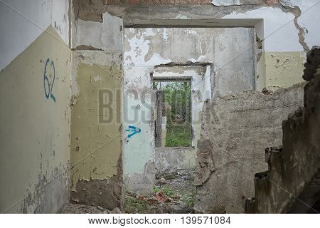 Old Abandoned Building Interior With Window