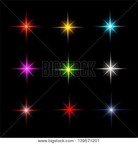 Collection of sparkle vector. Colored symbols. Symbols sparkling stars. Easy to use.