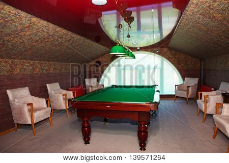 Saint Petersburg, Russia, July 2, 2016: Lindstrom cottage on the territory of the Congress Palace near the Konstantinovsky Palace, billiard room. Residence of President Vladimir Putin.