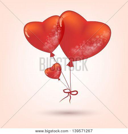 vector holiday illustration of flying red balloon hearts. Eps10 vector illustration