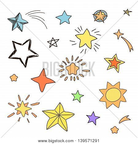 Collection of handdrawn stars in various shapes and designs, yellow, orange, pinc, blue